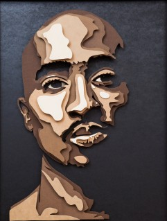 Tupac Shakur is regarded by many as one of the greatest artists of all time. He is included number 86 on Rolling Stones list of the 100 greatest artist of all time. He began his career as a backup dancer and mc for the popular group Digital Underground. LIn 1991 he released his first solo album 2Pacalypse Now, which many rappers have pointed to as inspiration. Shakurs music and philosophy are rooted in American, Black, and world entities, Black Panther Party, Black Nationalism, egalitarianism, and liberty. 5 layered, 5x37x48